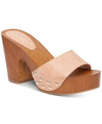 Jessica Simpson Karema Wood Heel Platform Slides Women's Shoes Natural