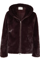 Vince Hooded Faux Fur Jacket Merlot