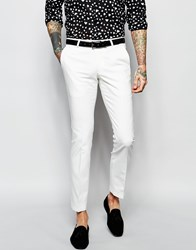 Noose And Monkey Suit Trousers With Stretch In Super Skinny Fit White