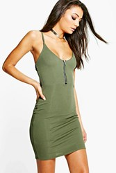 Boohoo Samia Rib Zip Front Strappy Mini Dress Khaki