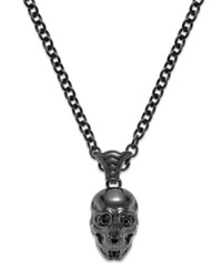 Macy's Skulls On Fire Men's Stainless Steel Black Sapphire Skull Pendant Necklace 1 4 Ct. T.W.