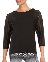 Betsey Johnson Mesh Batwing Athletic Top Black