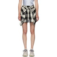 Alexander Wang Black And White Plaid Tie Front Skort
