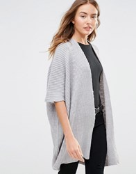 Brave Soul Ribbed Short Sleeve Cardigan Light Grey Melange