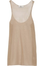Valentino Open Knit Silk Tank Taupe