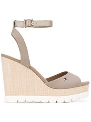 Tommy Hilfiger Wedged Sandals Women Tactel Rubber 41 Nude Neutrals