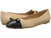 Marc By Marc Jacobs Tuxedo Logo Plaque Ballerina Nude Black 1 Women's Slip On Shoes Beige