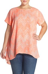 Plus Size Women's Vince Camuto Chevron Print High Low Blouse Coral Shock