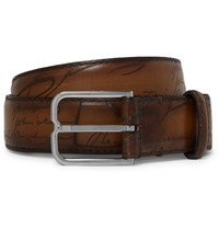 Berluti 3Cm Brown Scritto Leather Belt Brown