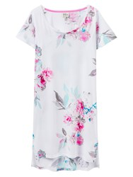 Joules Florian Short Sleeve Night Dress White Floral