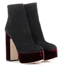 Miu Miu Suede And Velvet Platform Ankle Boots Black