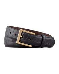 W.Kleinberg Matte Alligator Belt Black Black 42
