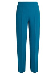 Emilia Wickstead Arabella Wool Crepe Slim Leg Trousers Blue