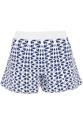 Alexander Mcqueen Floral Stretch Jacquard Shorts Blue