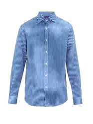 Ralph Lauren Purple Label Striped Linen Shirt Blue White