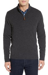 Nordstrom Men's Big And Tall Men's Shop Regular Fit Cashmere Quarter Zip Pullover Grey Dark Charcoal Heather