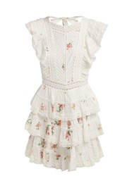 Zimmermann Heathers Floral Print Embroidered Lace Mini Dress White Multi