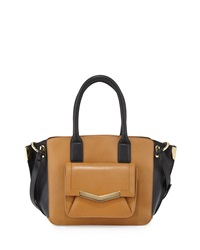 Time's Arrow Mini Jo Two Tone Leather Tote Bag Cuoio Black