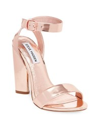 Steve Madden Treasure Leather Dress Sandals Rose Gold