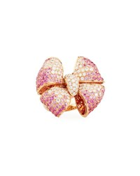 Leo Pizzo Diamond And Pink Sapphire Bow Tie Ring In 18K Rose Gold