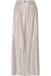 Vivienne Westwood Red Label Wool And Silk Blend High Rise Wide Leg Pants Lavender