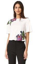 3.1 Phillip Lim Floral Embroidered Tee Antique White