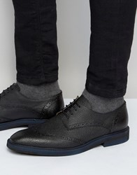 Selected Homme Dwight Leather Brogue Shoes Black