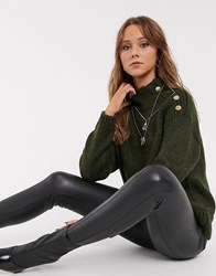 Topshop Jumper With Button Shoulders In Khaki Green