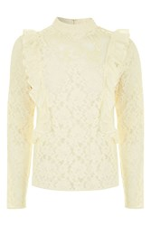 Topshop Long Sleeve Lace Ruffle Top Ivory
