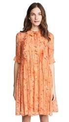Intropia Floral Tie Neck Dress Orange Print