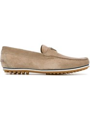 Emporio Armani Logo Detail Loafers Nude And Neutrals