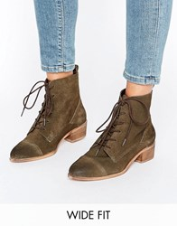 Asos Aurora Wide Fit Suede Lace Up Boots Khaki Green