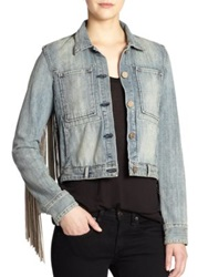 Mcguire Skywalker Leather Fringe Trimmed Denim Jacket New Dawn