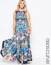 Asos Curve Kaftan Keyhole Maxi Dress In Print Multi