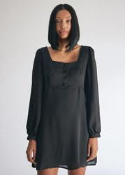 Farrow Square Neck Long Sleeve Dress In Black Size Small