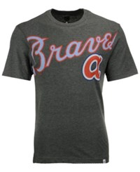 Majestic Men's Atlanta Braves Super Script T Shirt Charcoal Lightblue