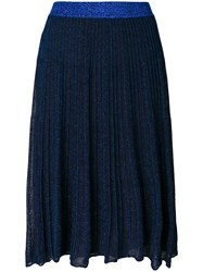 Twin Set Sheer Glitter Skirt Polyamide Viscose Metal Blue