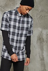 Forever 21 Slim Fit Flannel Shirt Grey Black