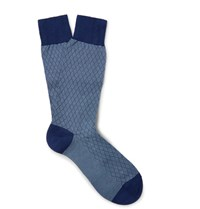 Pantherella Forsyth Patterned Cotton Blend Socks Navy