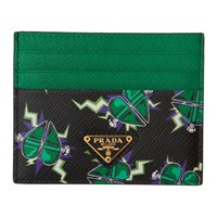 Prada Black And Green Heart Card Holder