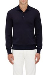 Luciano Barbera Men's Wool Silk Long Sleeve Polo Shirt Blue