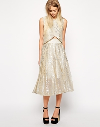 Sister Jane Pleat Midi Skirt In Metallic Animal Print Silver