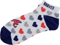 For Bare Feet Women's Atlanta Braves Heart Logo Repeat Socks Navy