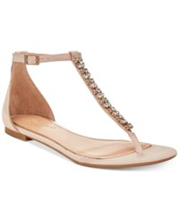 Jewel Badgley Mischka Gaby Flat Evening Sandals Created For Macy's Women's Shoes Champagne Satin