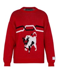 Martine Rose Bull Jacquard Cotton Sweater Red