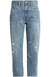 Vince Cropped Distressed Boyfriend Jeans Mid Denim
