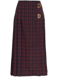 Burberry Arroux Check Print Pleated Wool Skirt Blue