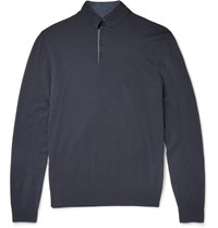 Loro Piana Contrast Tipped Silk And Cashmere Blend Sweater Navy