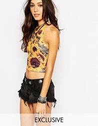 Rokoko Cropped Tie Back Halter Neck Crop Top In Wild Sunflower Festival Print Yellowmulti