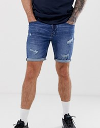 Pull And Bear Slim Denim Shorts In Indigo With Rips Blue
